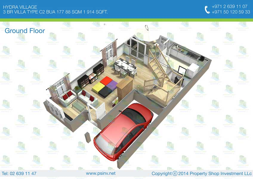 3d floor plan of 3 bedroom villa 1914 sq ft hydra 3d house plans in 1000 sq ft